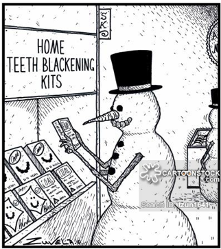 snowman teeth blackening cartoon